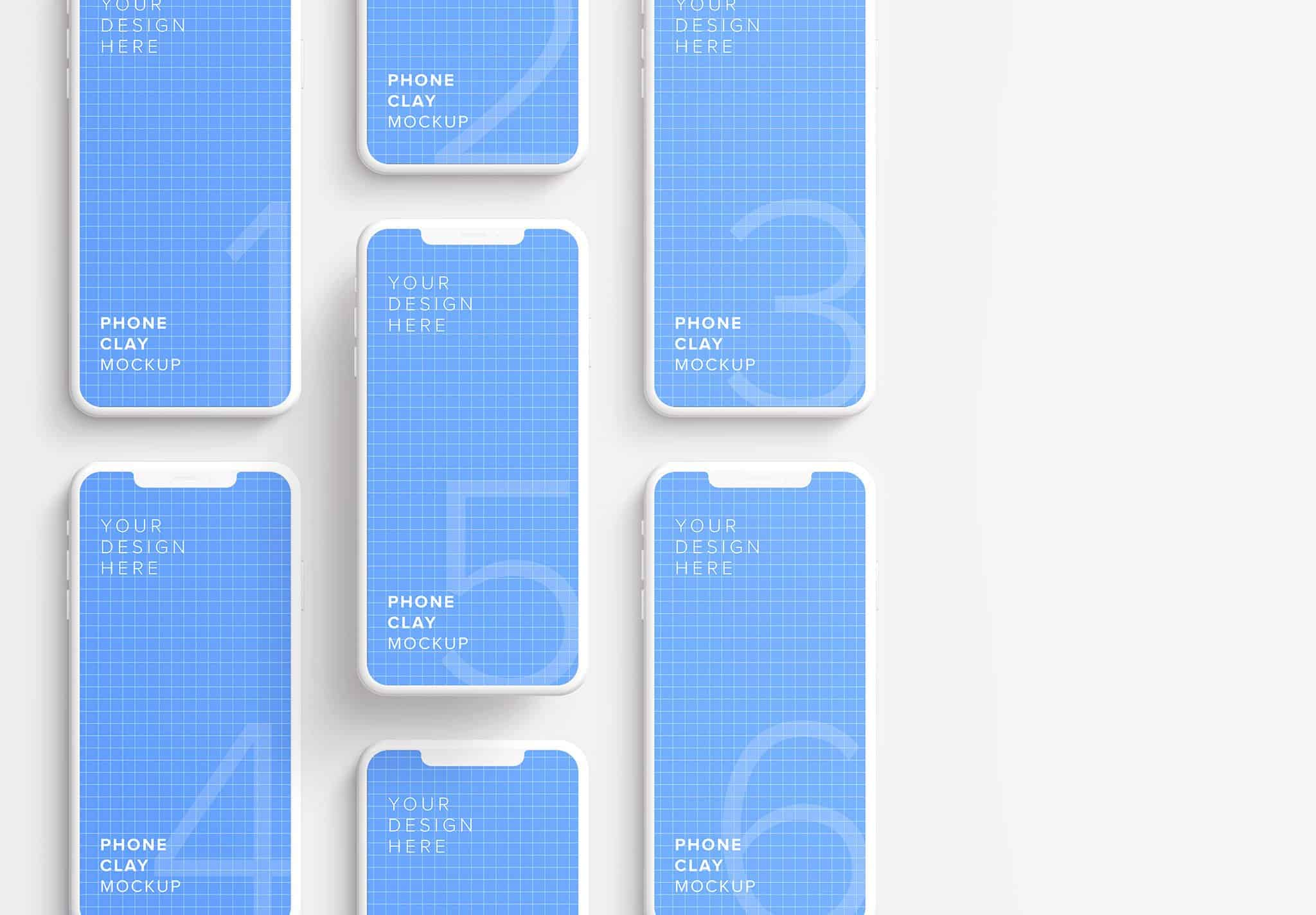 iphone smartphone clay layout 4 mockup thumbnail