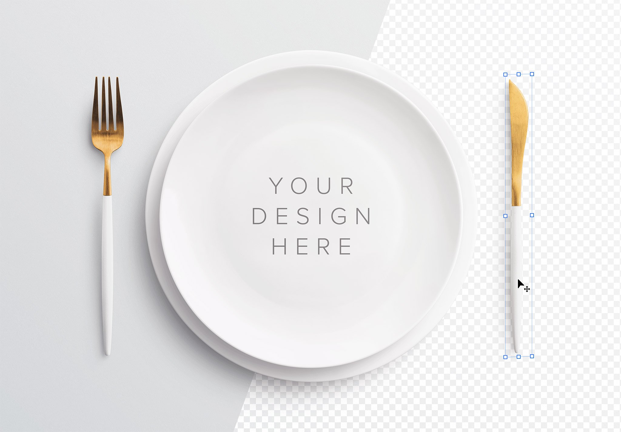 table set mockup plate and cutlery image01