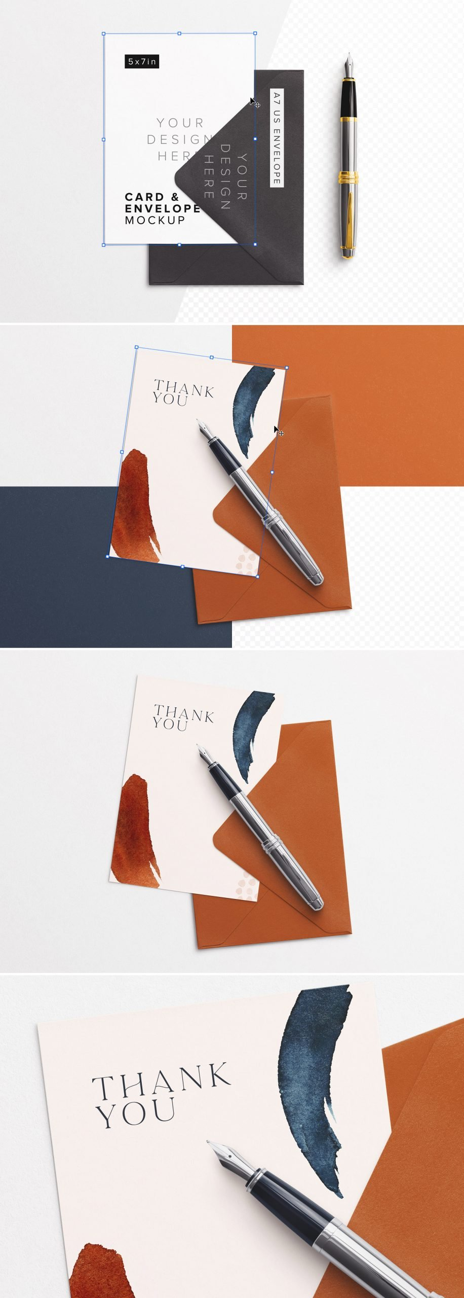 5x7in Card with Envelope And Foutain Pen Mockup Preview scaled