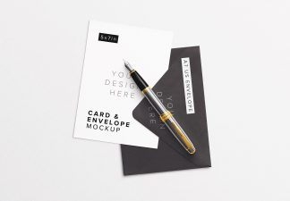 5x7in Card with Envelope And Foutain Pen Mockup Thumbnail