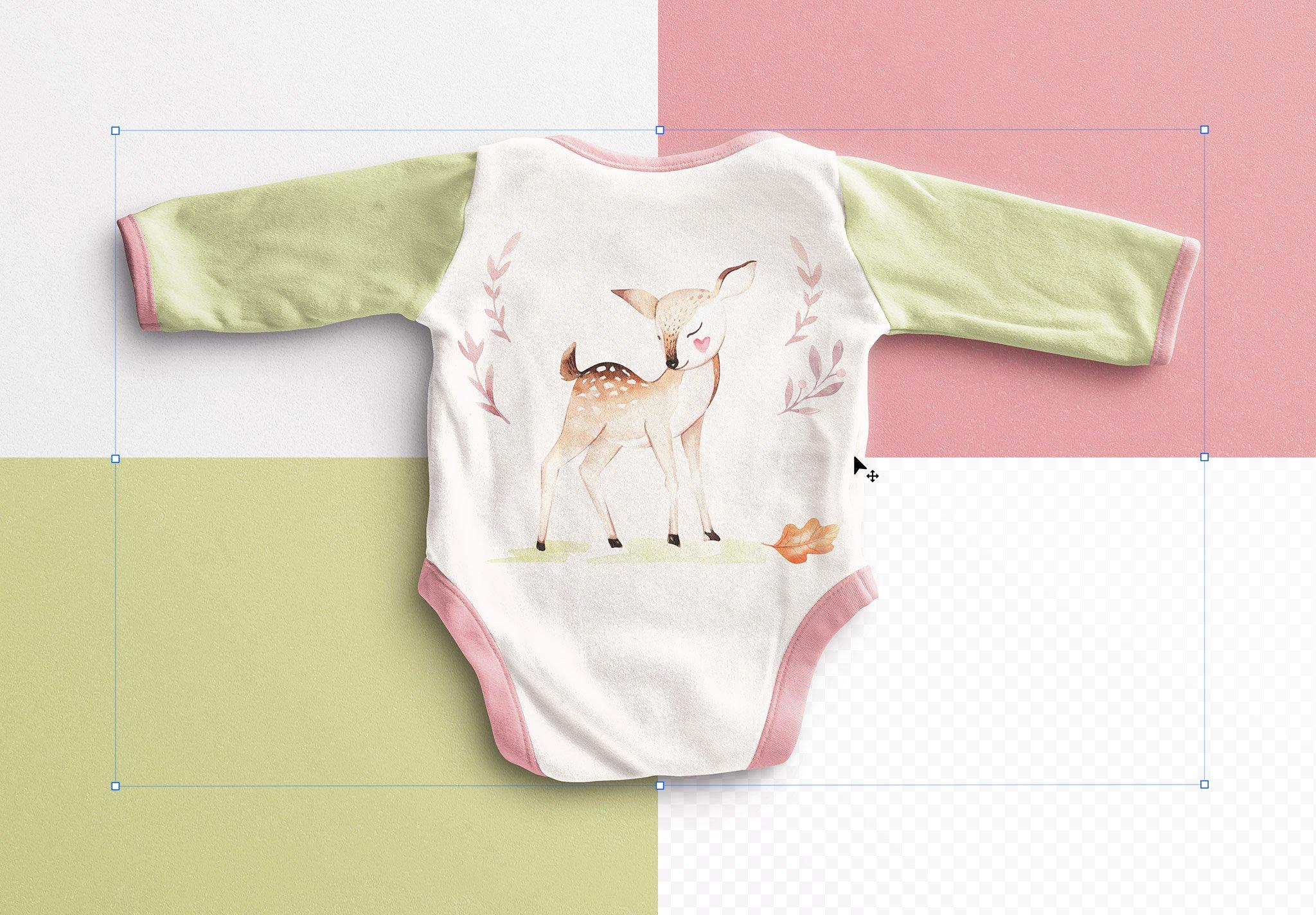 Baby Vest Long Sleeves Back Mockup Image02