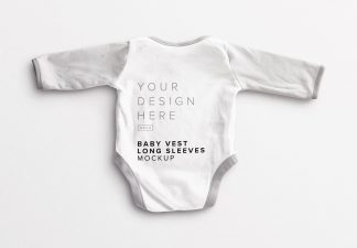 Baby Vest Long Sleeves Back Mockup Thumbnail