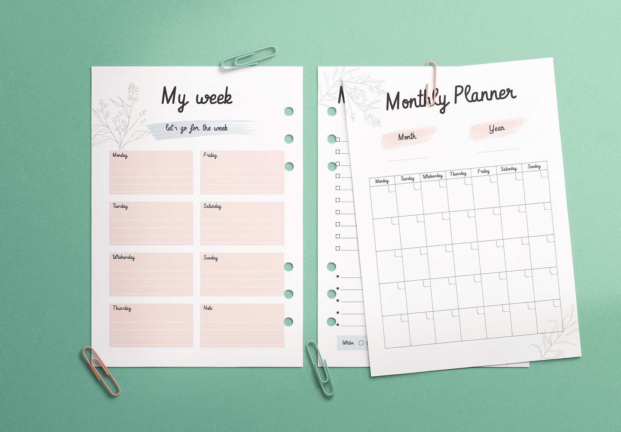 Planner Inserts A5 Size Mockup Image02