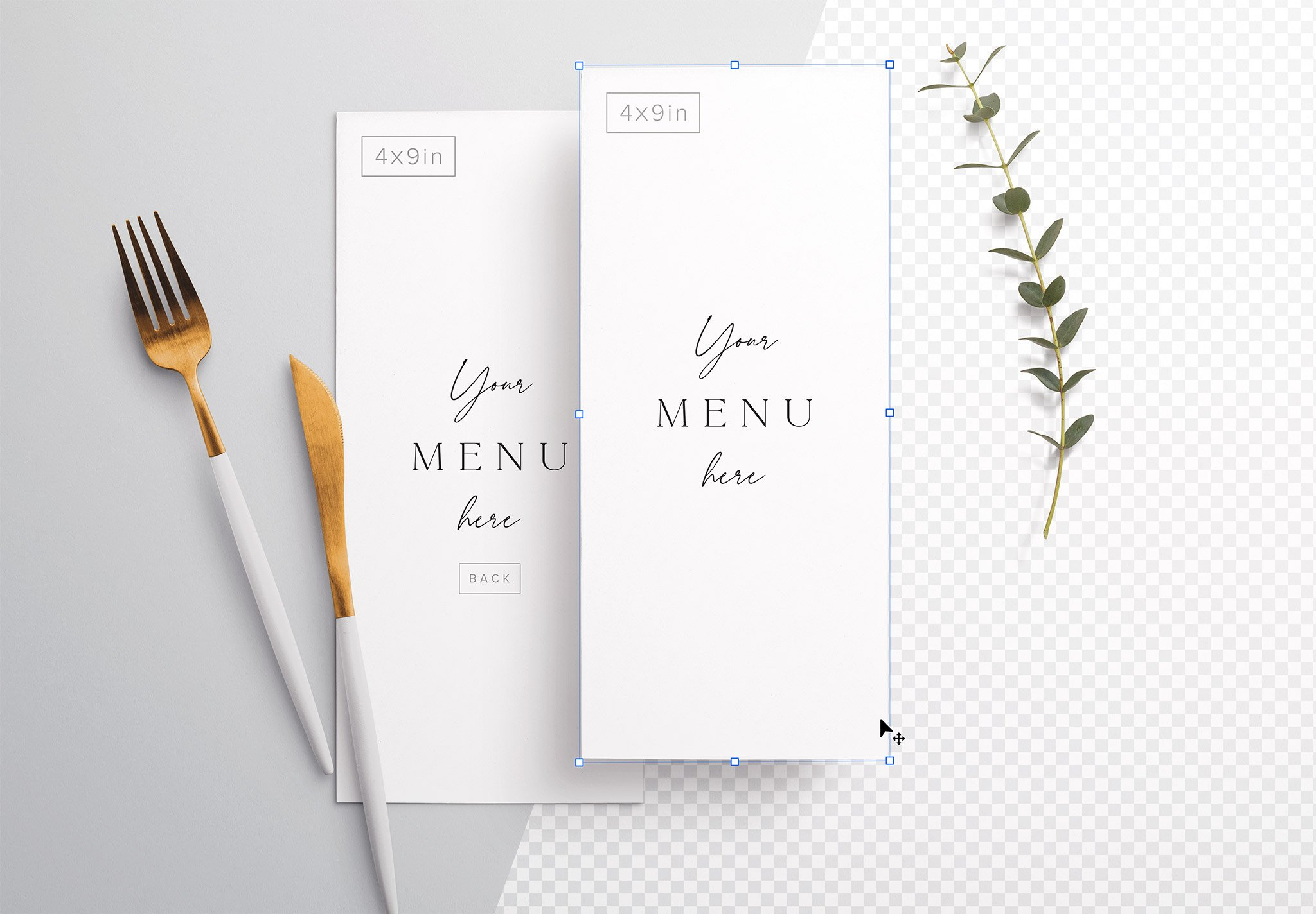 Table 4X9In Menu with Cutleries And Eucalyptus Image01