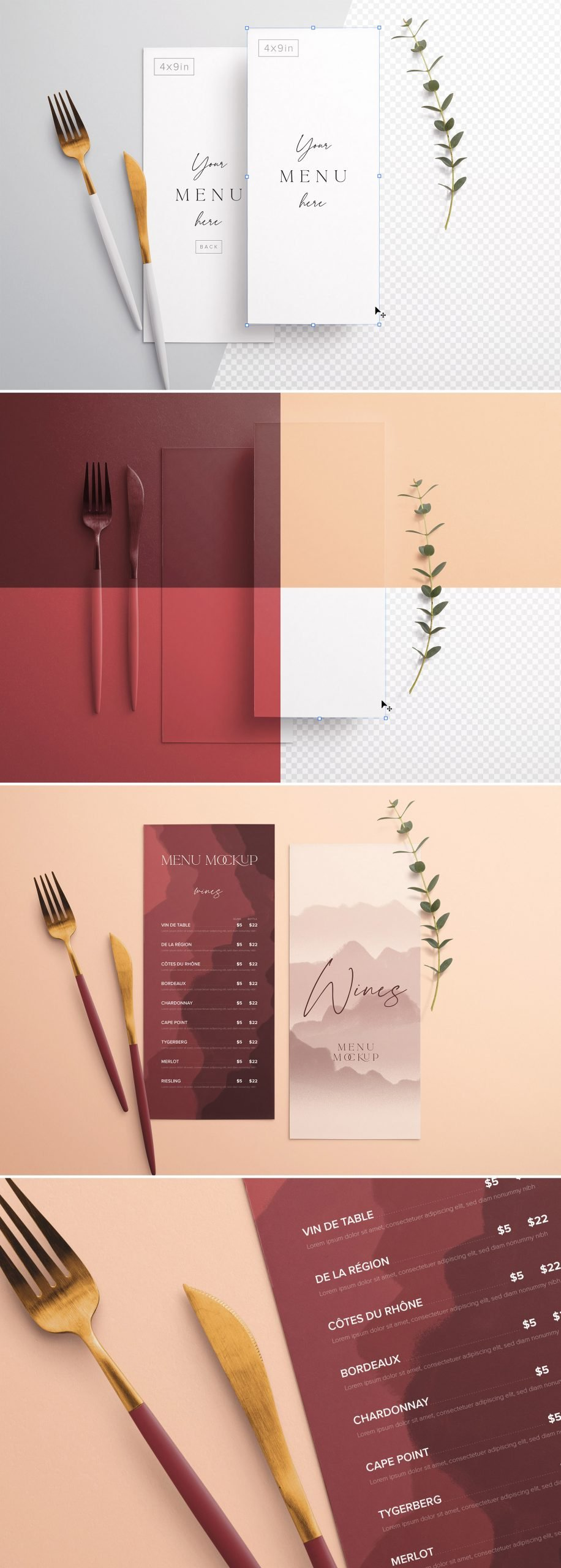 Table 4X9In Menu with Cutleries And Eucalyptus Preview scaled