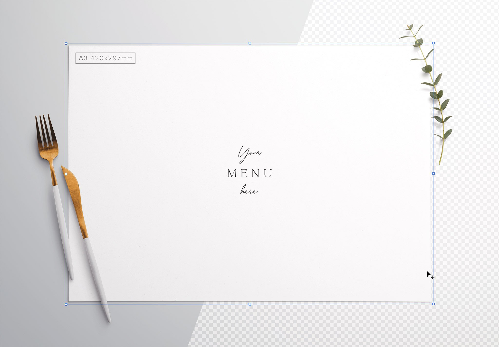 Table A3 Menu with Cutleries And Eucalyptus Image01