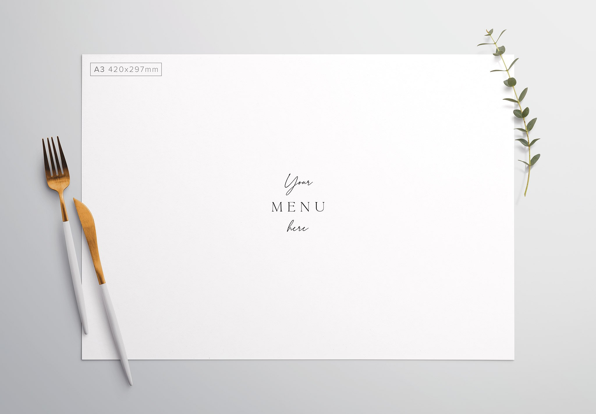 Table A3 Menu with Cutleries And Eucalyptus Thumbnail