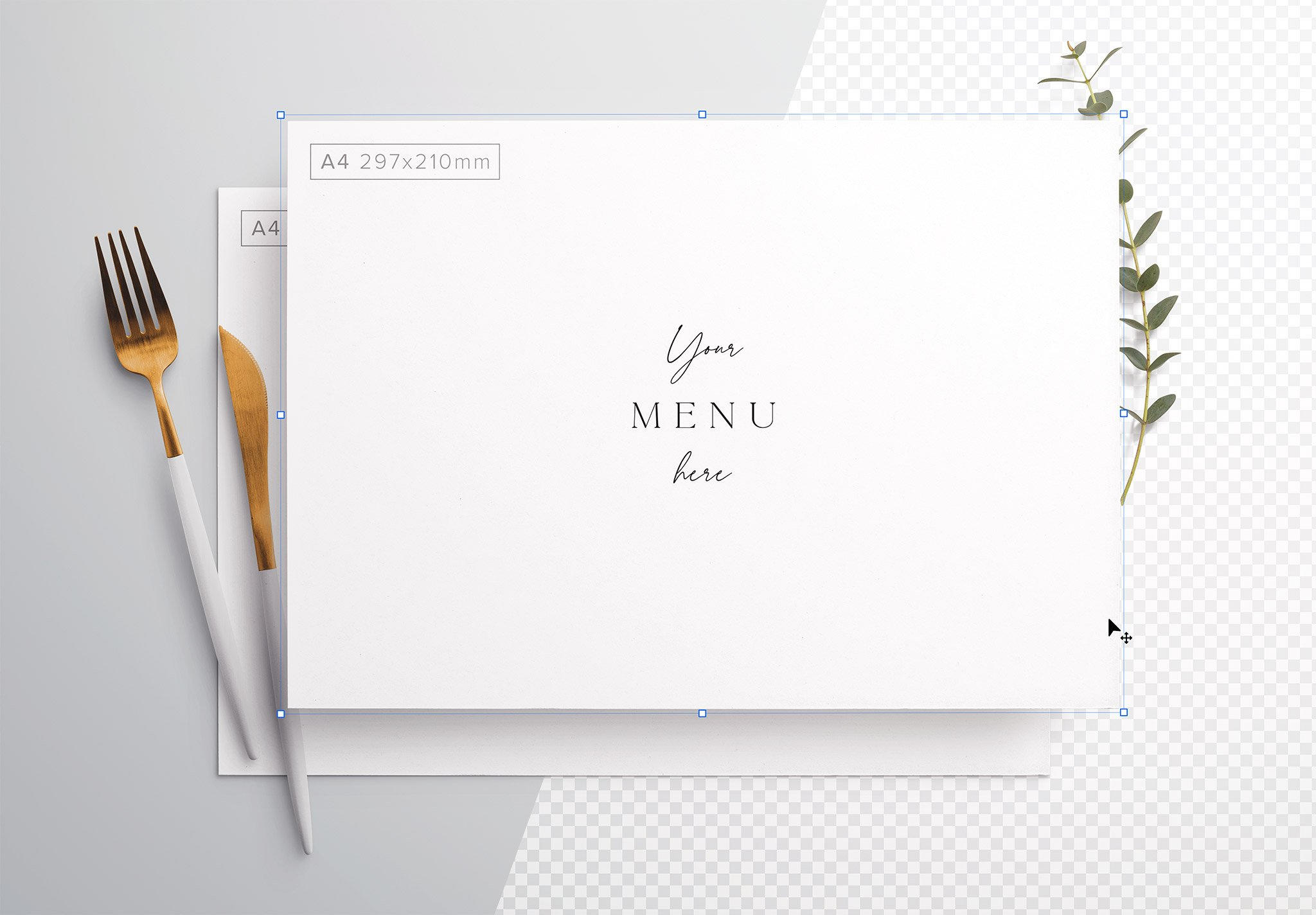 Table A4 Menu with Cutleries And Eucalyptus Image01