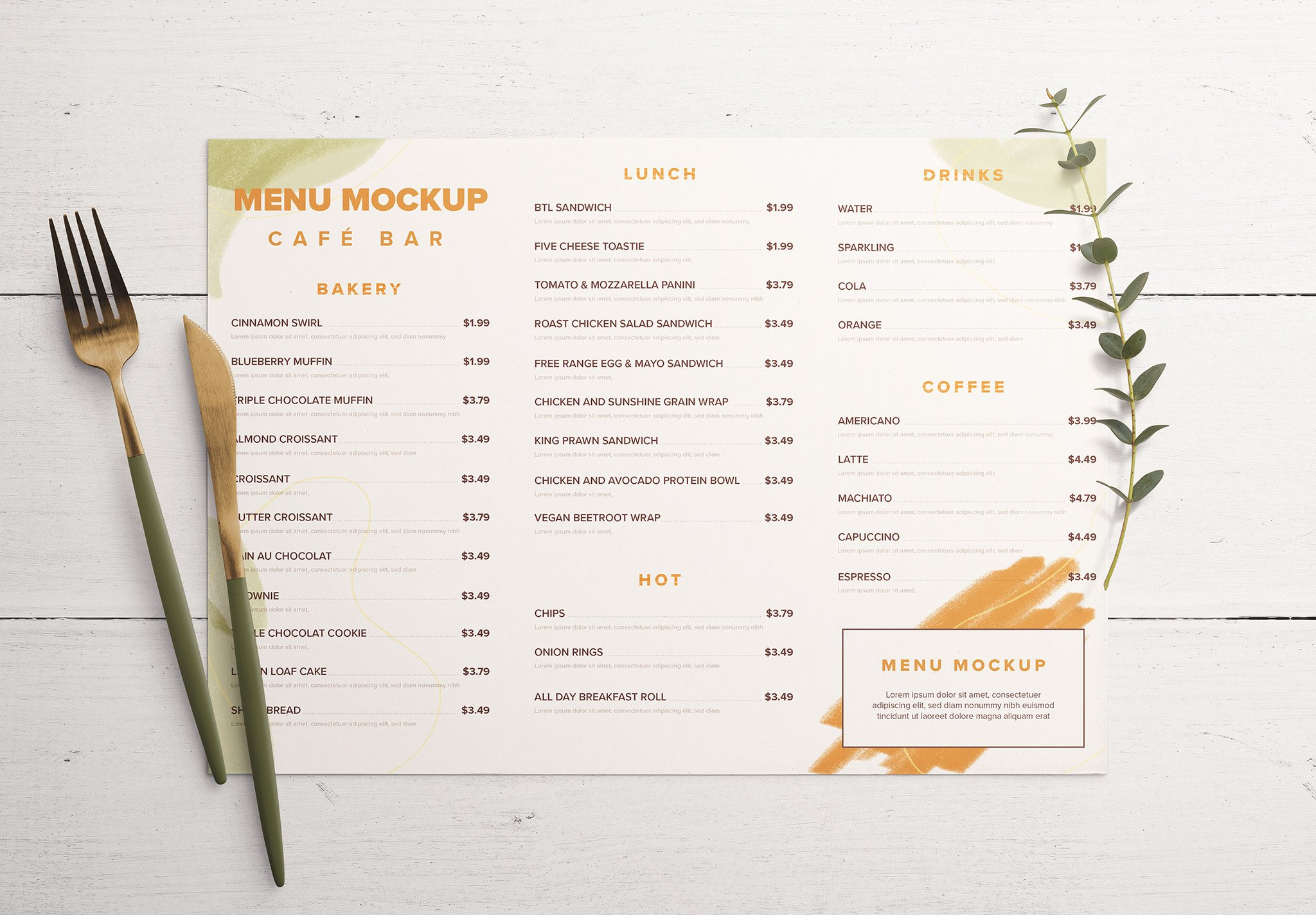 Table A4 Menu with Cutleries And Eucalyptus Image03