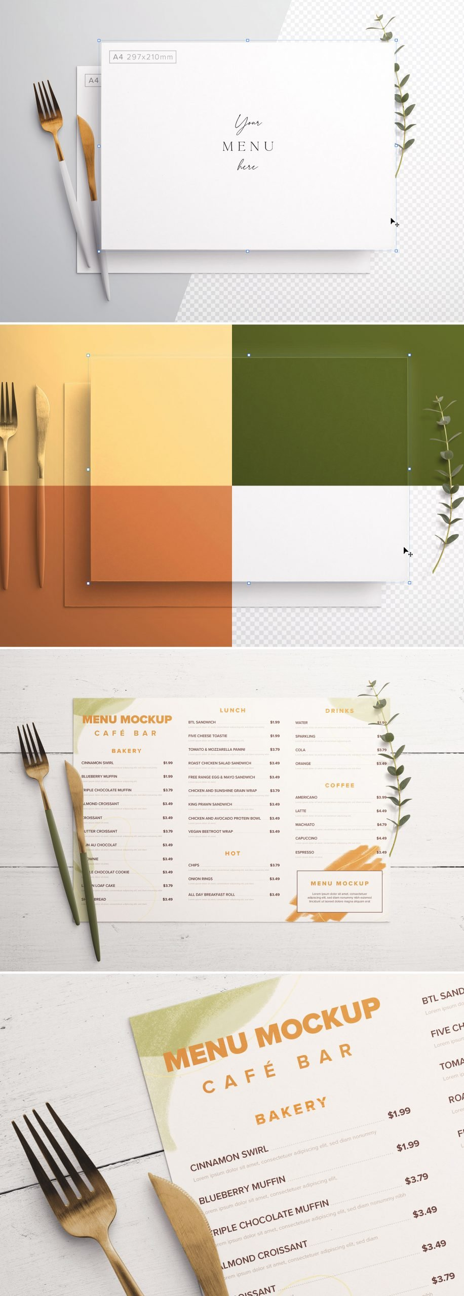 Table A4 Menu with Cutleries And Eucalyptus Preview scaled