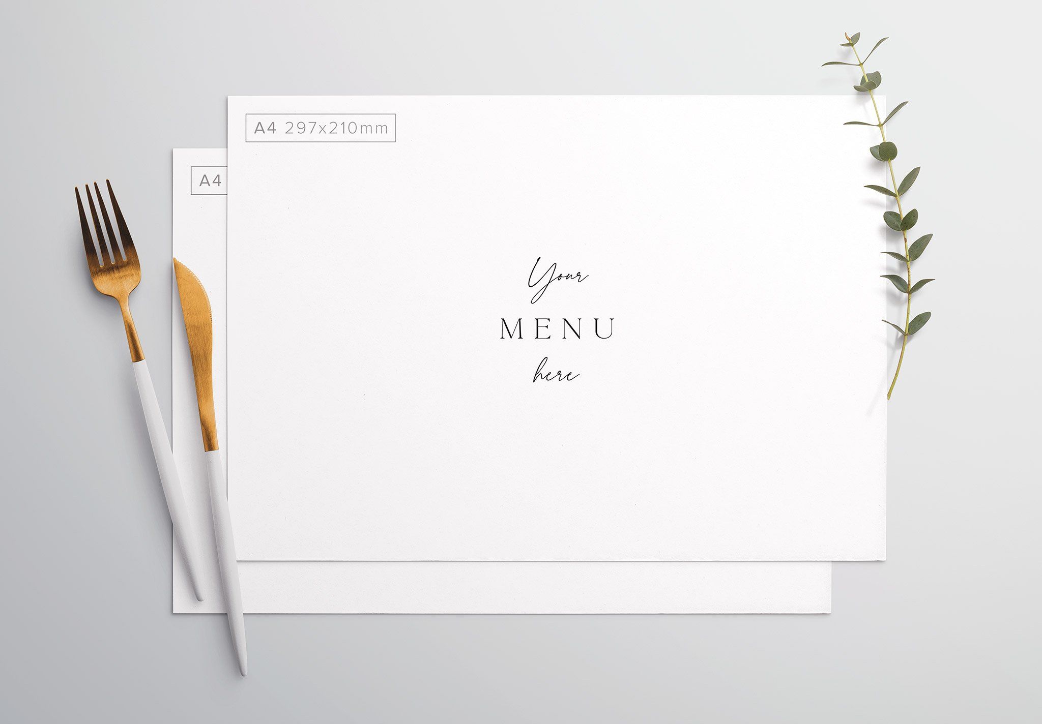 Table A4 Menu with Cutleries And Eucalyptus Thumbnail