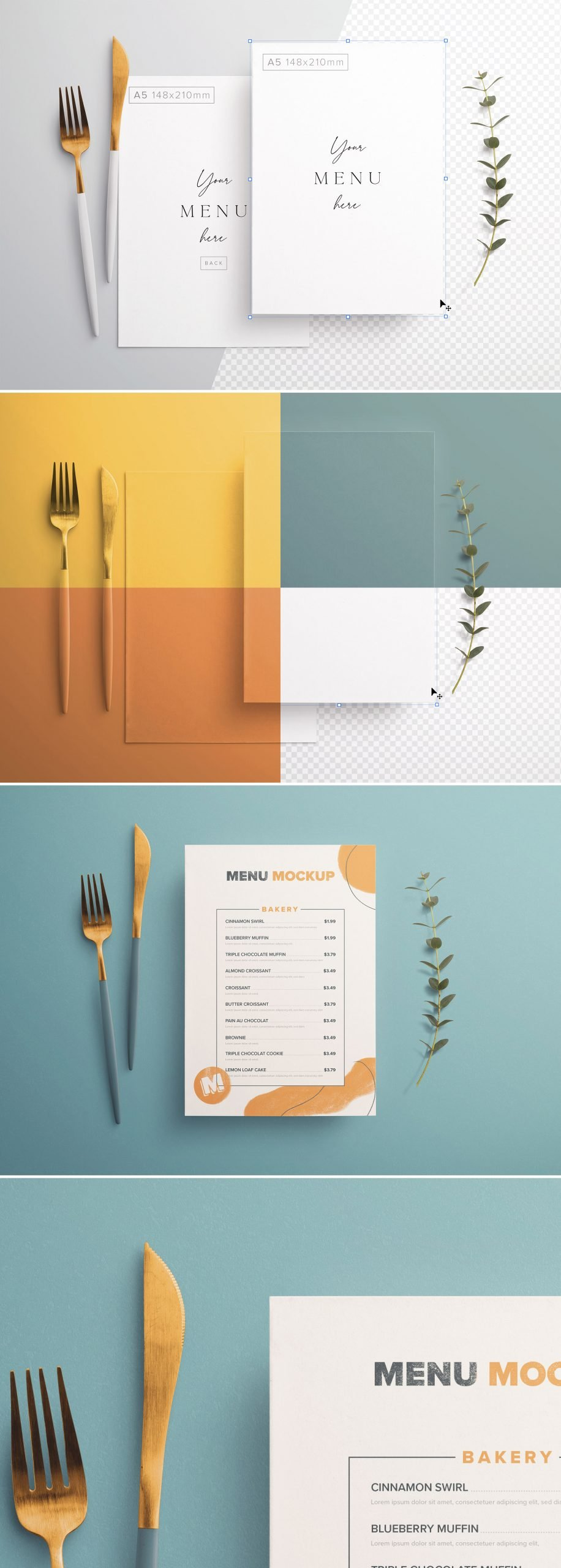 Table A5 Menu with Cutleries And Eucalyptus Preview scaled