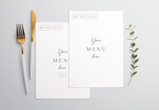 Table A5 Menu with Cutleries And Eucalyptus Thumbnail