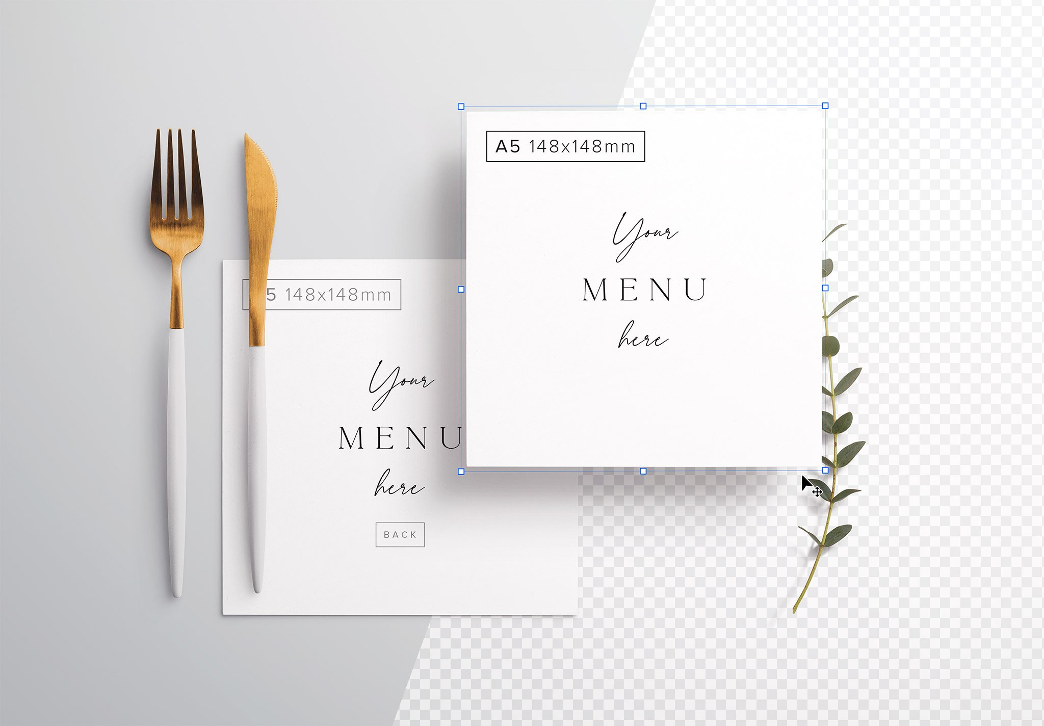 Table A5 Square Menu with Cutleries And Eucalyptus Image01