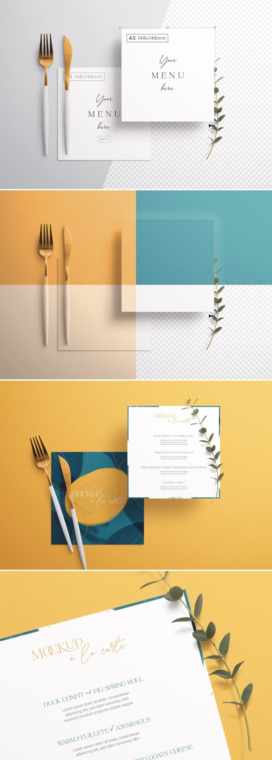Table A5 Square Menu with Cutleries And Eucalyptus Preview scaled