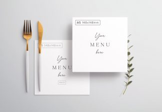 Table A5 Square Menu with Cutleries And Eucalyptus Thumbnail