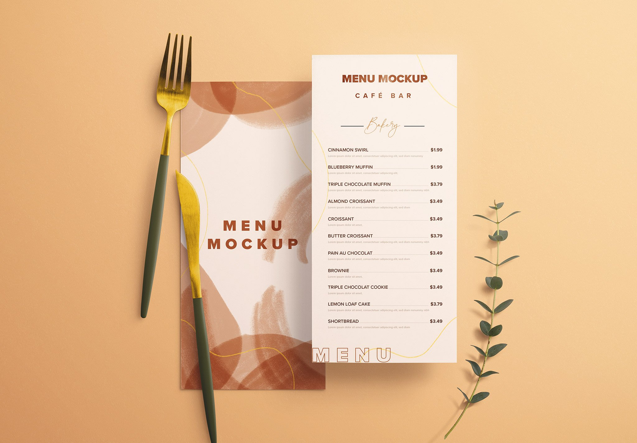 Table Dl Menu with Cutleries And Eucalyptus Image03