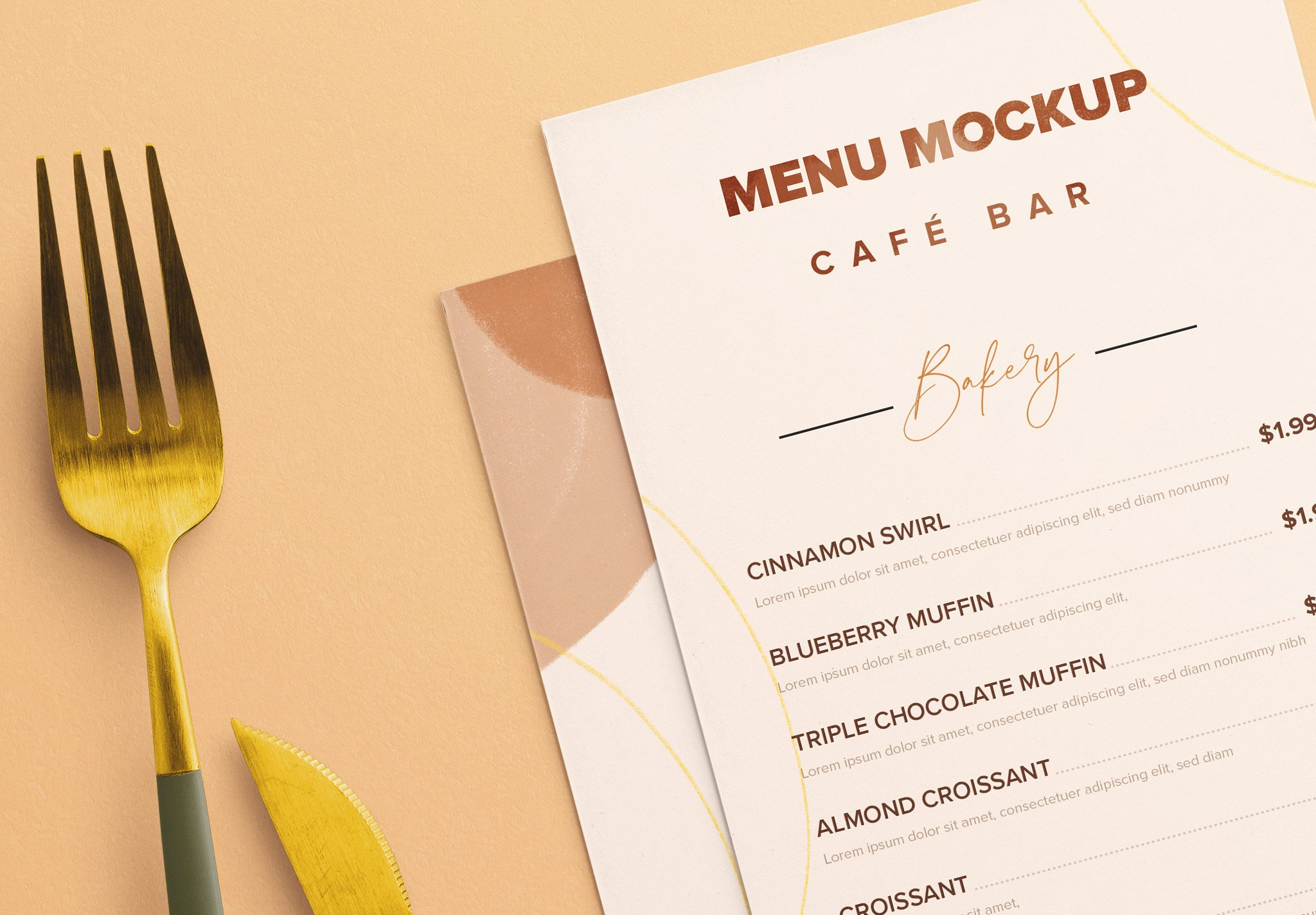 Table Dl Menu with Cutleries And Eucalyptus Image04