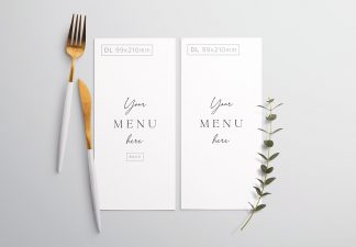 Table Dl Menu with Cutleries And Eucalyptus Thumbnail