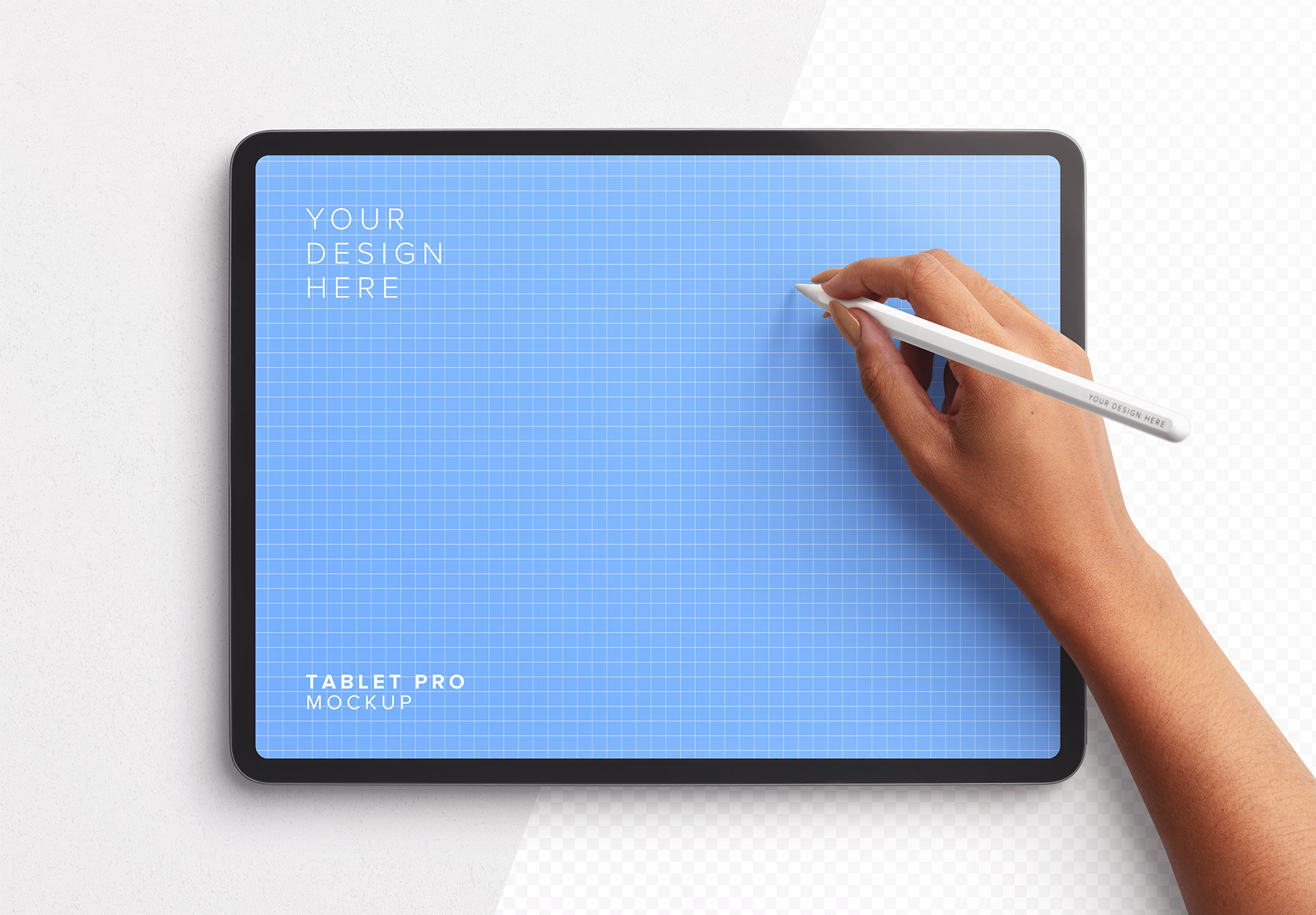 Tablet Pro Mockup with Hand Holding Pencil Image01