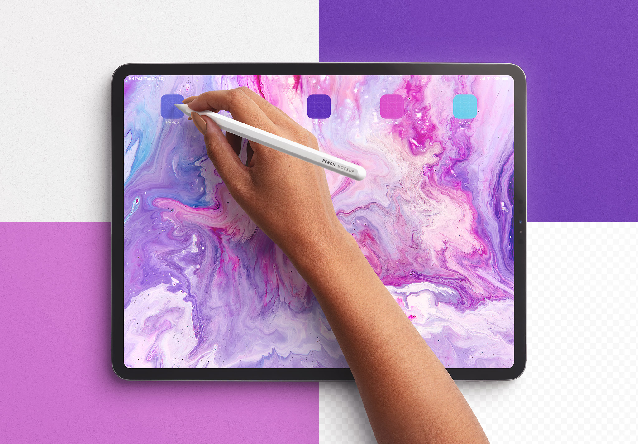Tablet Pro Mockup with Hand Holding Pencil Image02