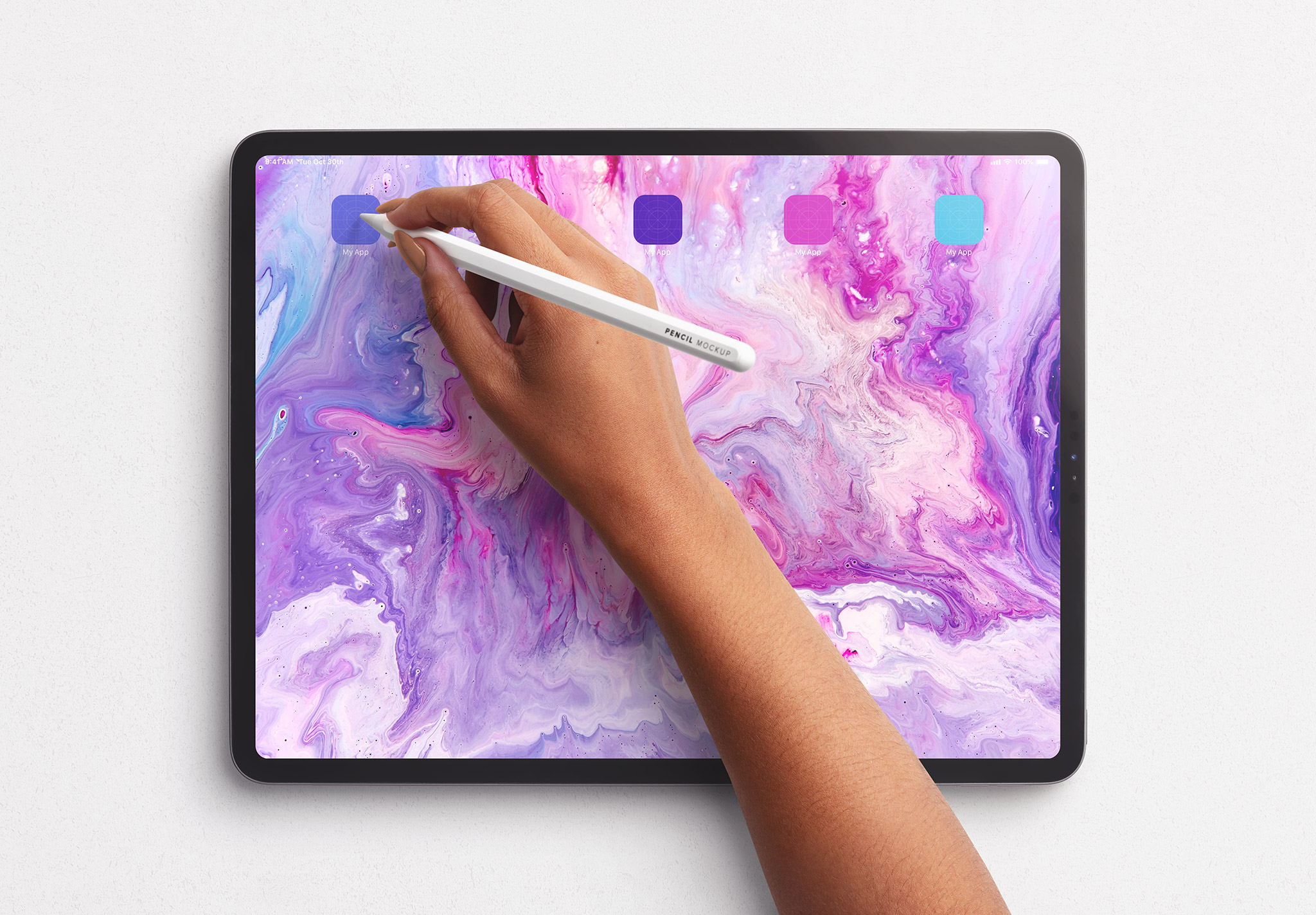 Tablet Pro Mockup with Hand Holding Pencil Image03