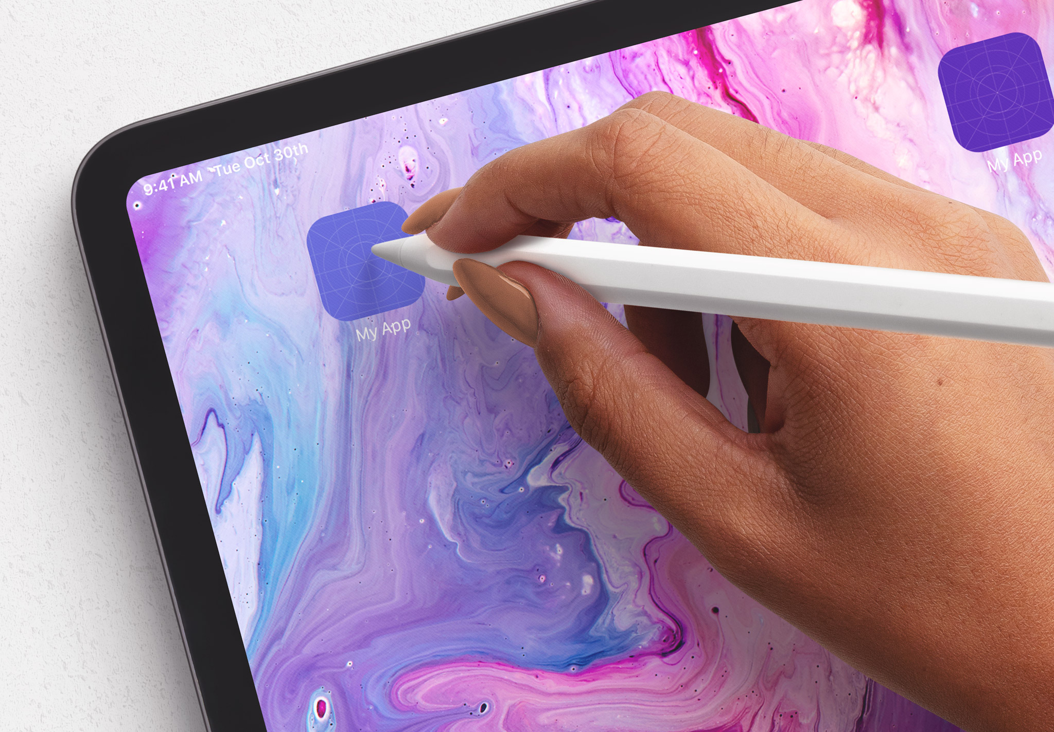 Tablet Pro Mockup with Hand Holding Pencil Image04