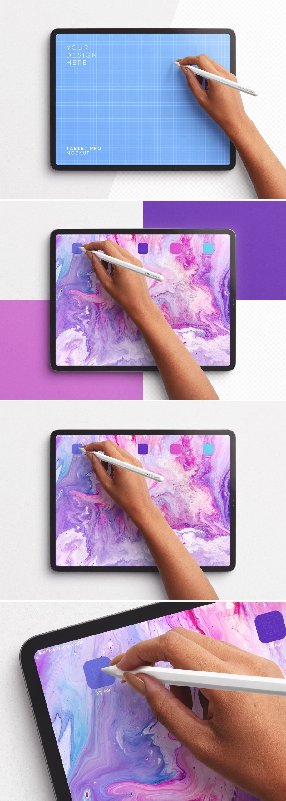 Tablet Pro Mockup with Hand Holding Pencil Preview scaled