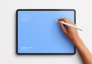 Tablet Pro Mockup with Hand Holding Pencil Thumbnail