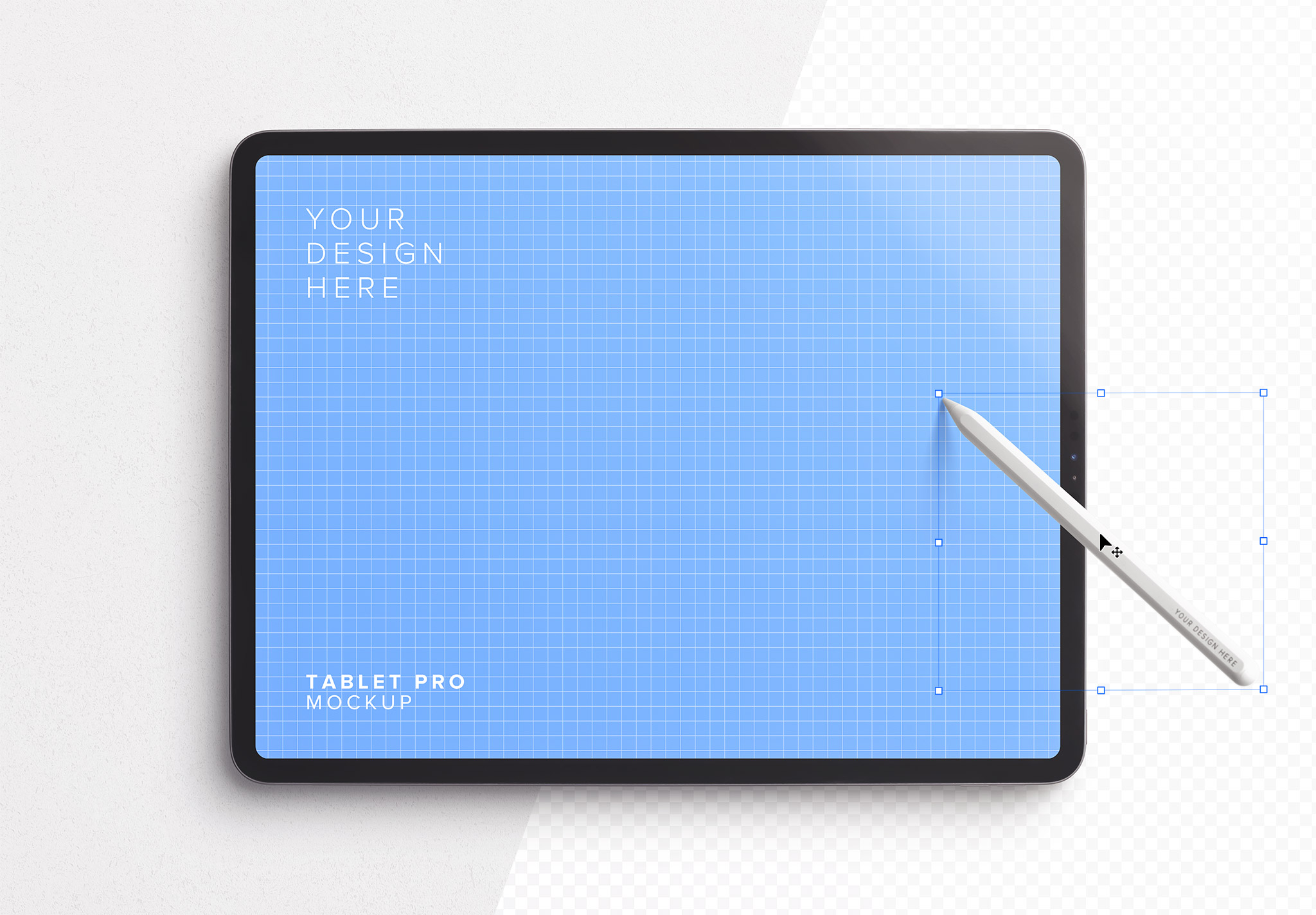 Tablet Pro Mockup with Tilted Pencil Image01