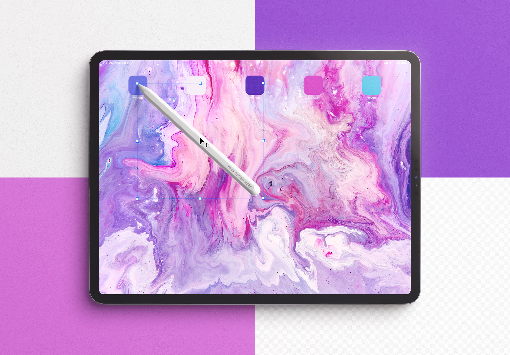 Tablet Pro Mockup with Tilted Pencil Image02