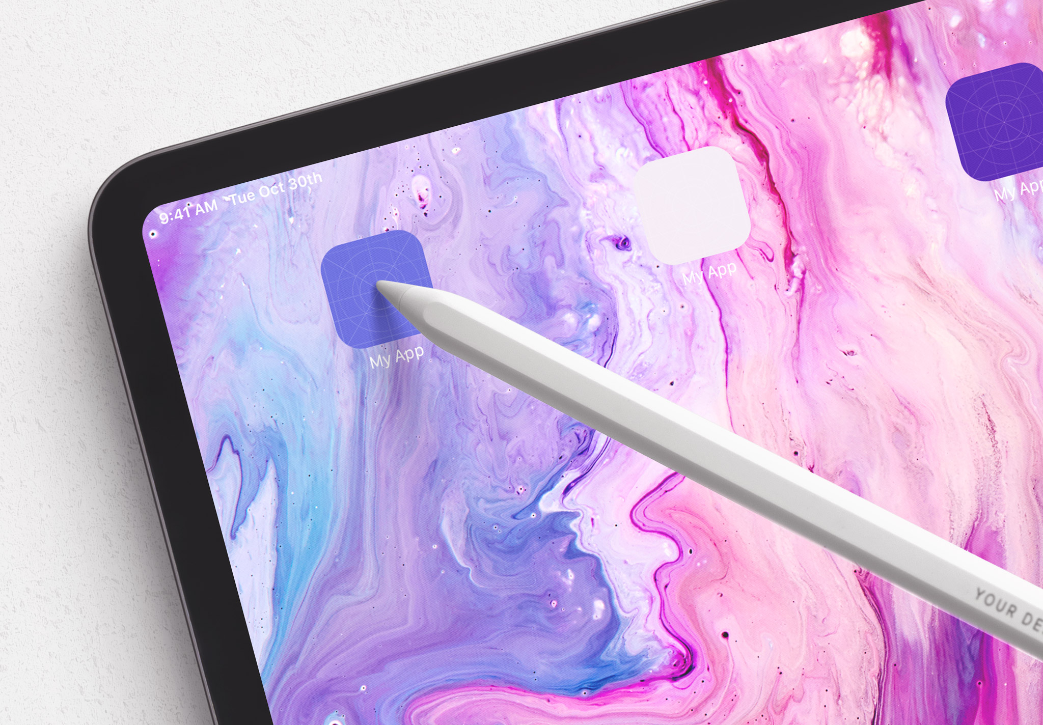 Tablet Pro Mockup with Tilted Pencil Image04