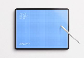 Tablet Pro Mockup with Tilted Pencil Thumbnail