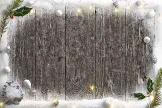Cold Winter Nature Scene with Snow Fairy Lights Holly and Pinecones