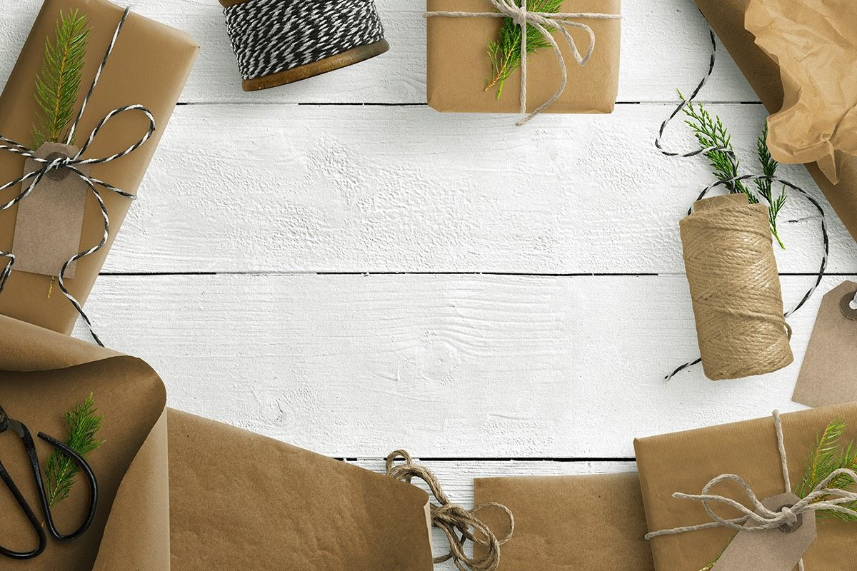 Gift Scene with Wrapped Parcels Twine and Natural Elements