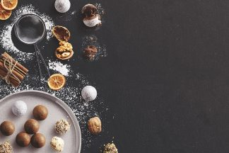 Winter Baking Scene with Truffles Cinnamon Nuts and Sugar