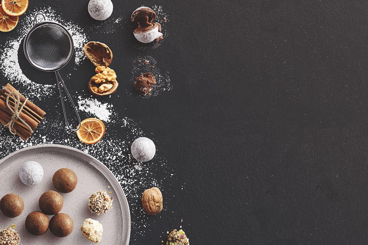 Winter Baking Scene with Truffles Cinnamon Nuts and Sugar