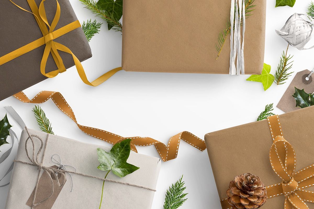 Winter Gift Scene with Parcels Ribbons Ivy and Holly