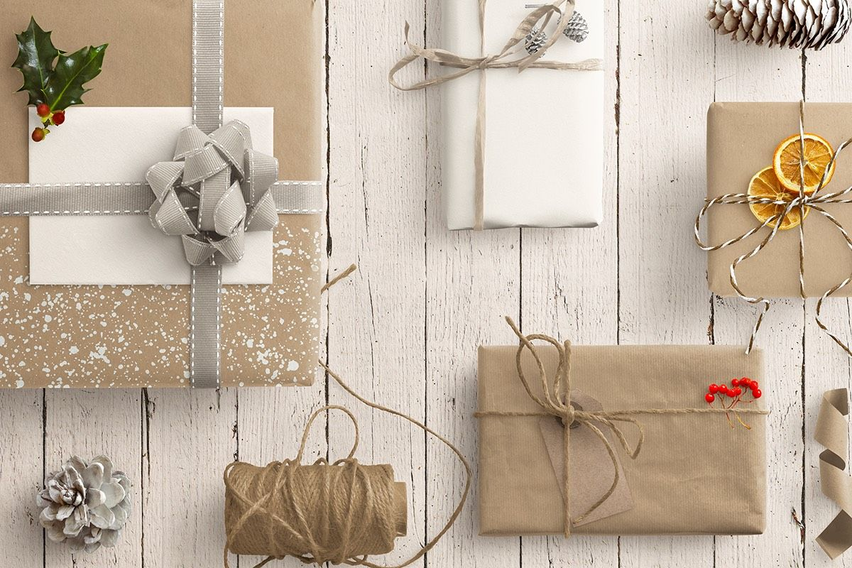 Winter Gift Scene with Parcels Twine Ribbons and Natural Decorations