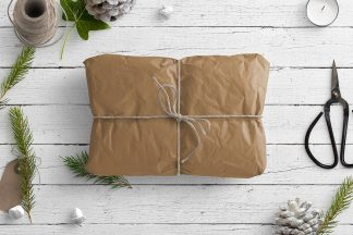 Winter Nature Scene with Brown Parcel and Gift Items