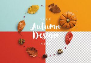 Autumn Frame Pumpkin and Leaves Mockup image02