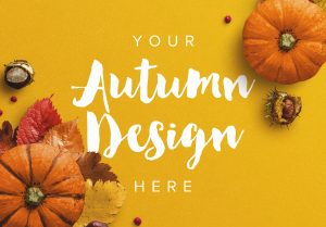 Autumn Frame Pumpkin and Leaves Mockup image03
