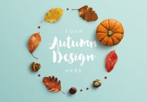 Autumn Frame Pumpkin and Leaves Mockup thumbnail 1