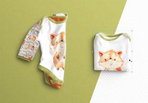 Baby Vest Long Sleeves Folded Mockup thumbnail 1