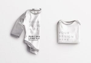Baby Vest Long Sleeves Folded Mockup thumbnail