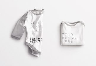Baby Vest Long Sleeves Folded Mockup thumbnail