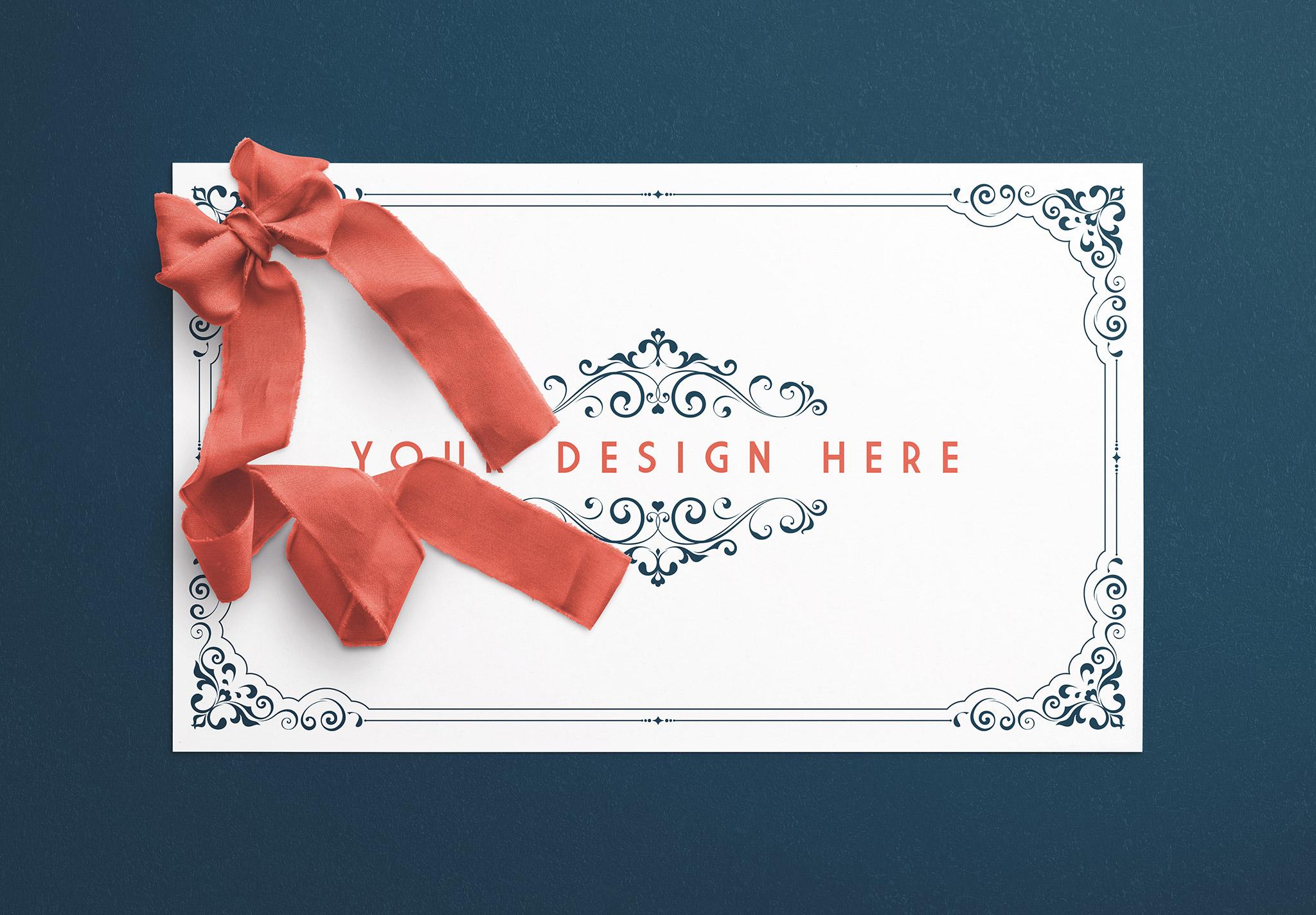 Card With Ribbons Mockup 2 image01