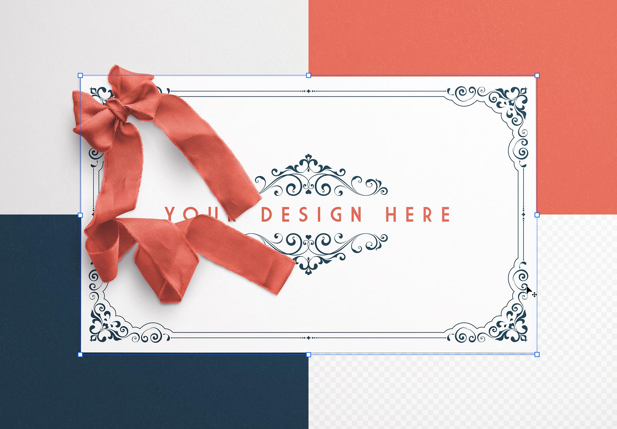 Card With Ribbons Mockup 2 image02