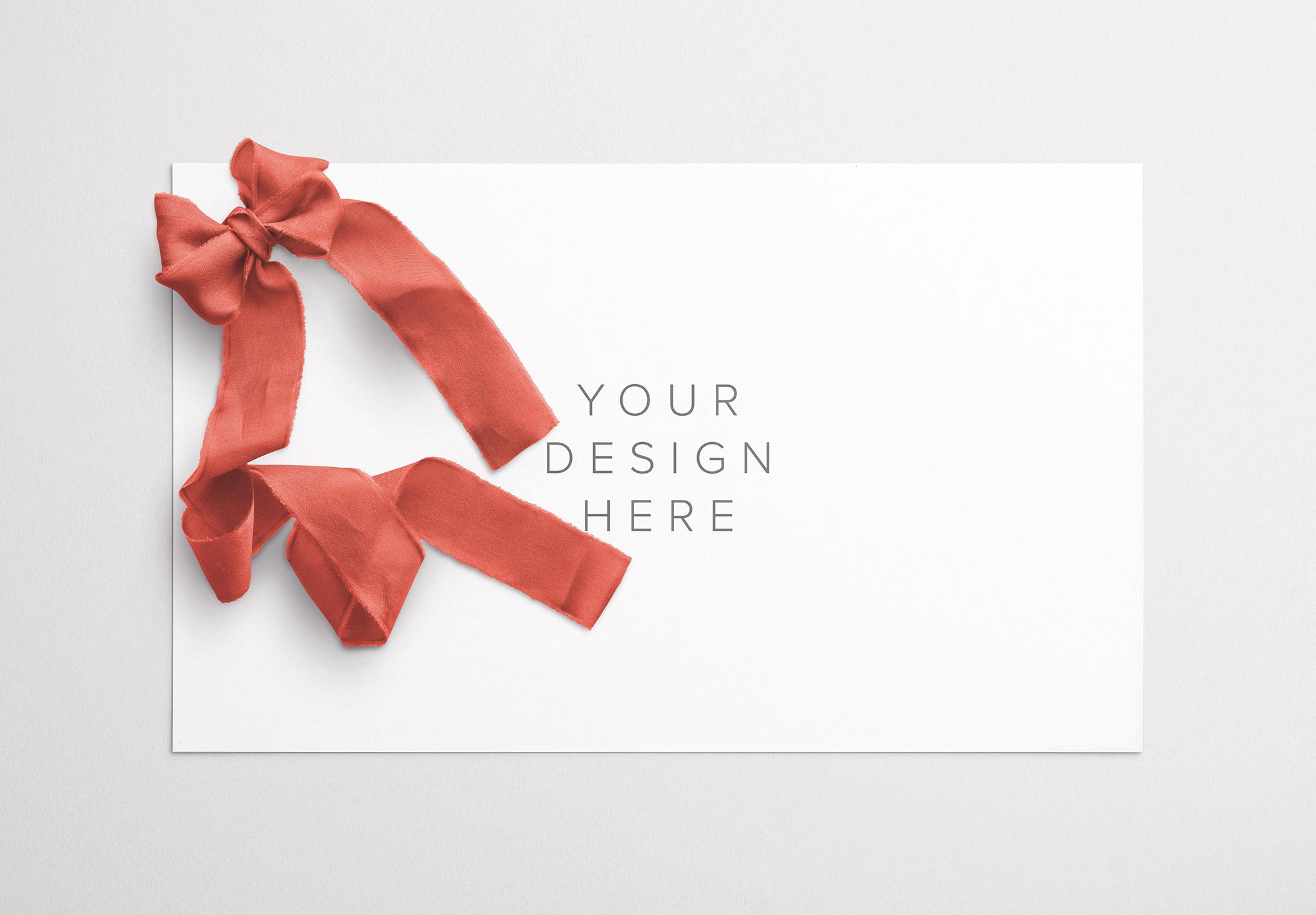 Card With Ribbons Mockup 2 thumbnail