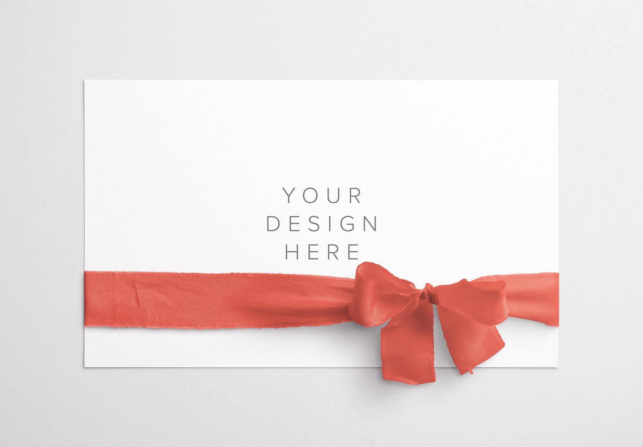 Card With Ribbons Mockup 3 thumbnail